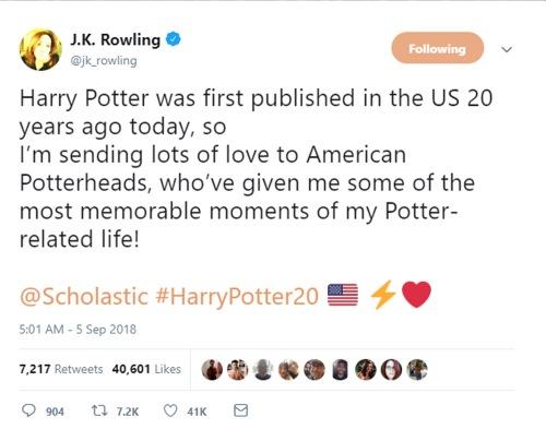 JK Rowling Tweet - 2018-09-05